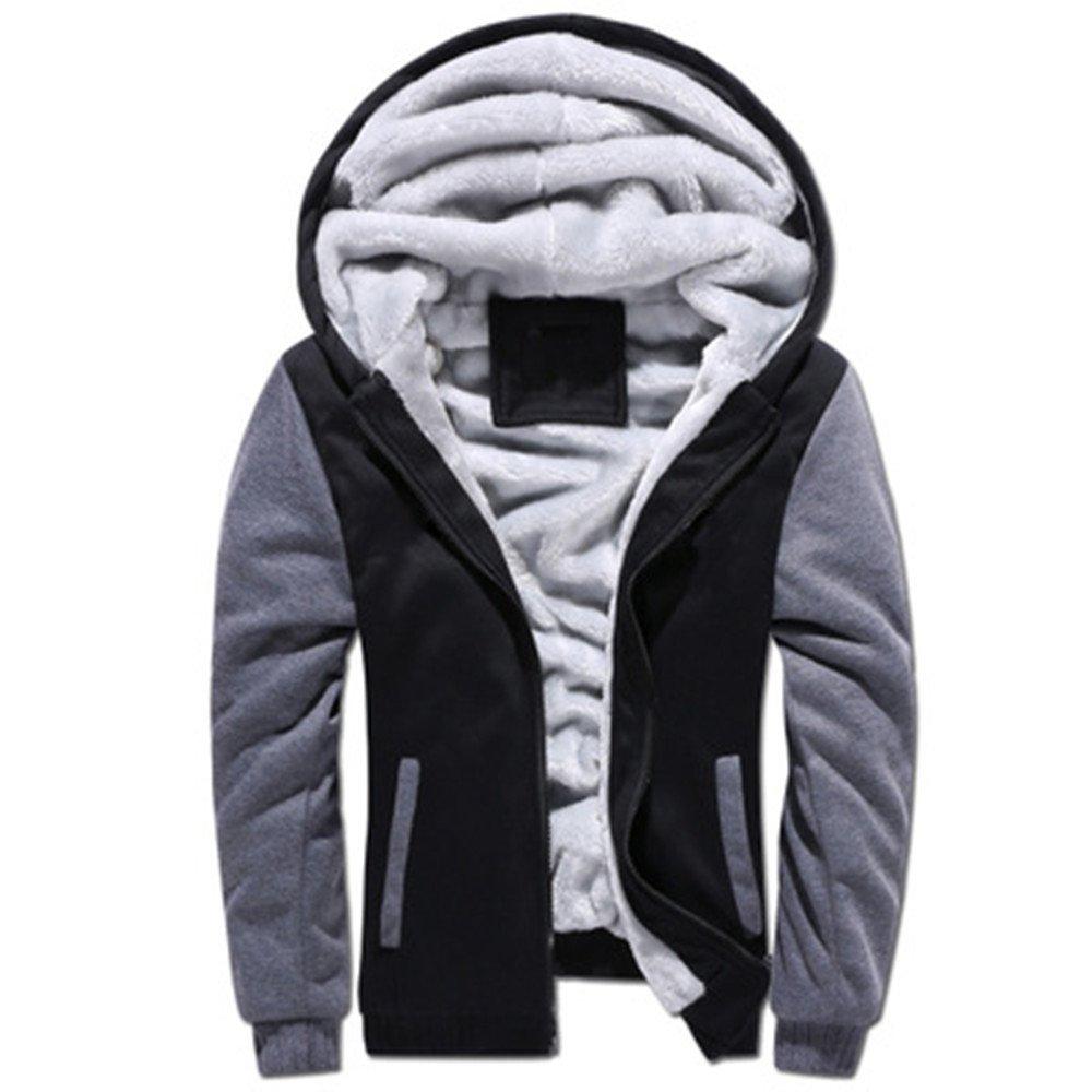 Baonmy Men's Casual Winter Fleece Lined Hoodies Jackets Warm Thick Coats (Black, XXL)
