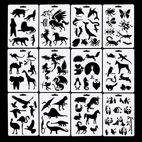 12 Pack Animals Bullet Journal Stencil Template Set, Including 10 Pack Bullet Journal Pen, Perfect for Planner/Notebook/Diary/Scrapbook/Graffiti/Card, 57 inch