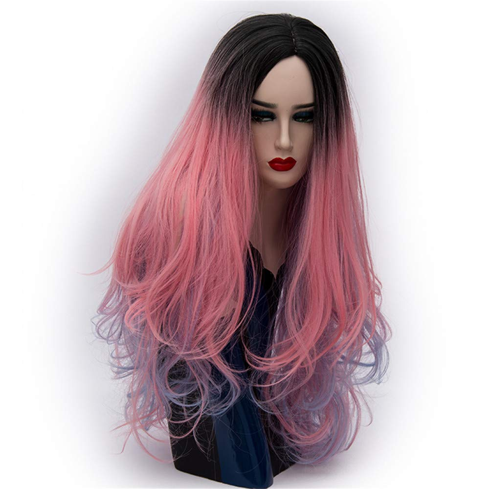 LONGLOVE European and American Wigs European and American Fashion Wigs Partial Scalp Dyed Long Curly Hair (06)