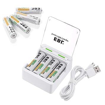 Amazon.com: EBL Cargador USB con Pilas AA 2800 mAh 1100 mAh ...