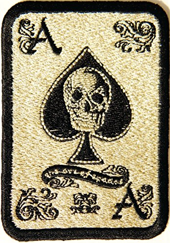 Ace Pant - Master Skull Poker Ace Card Old School Gambling Winner Playing Card Casino Logo Lucky Biker Jacket T shirt Patch Iron on Embroidered Badge Sign Costum