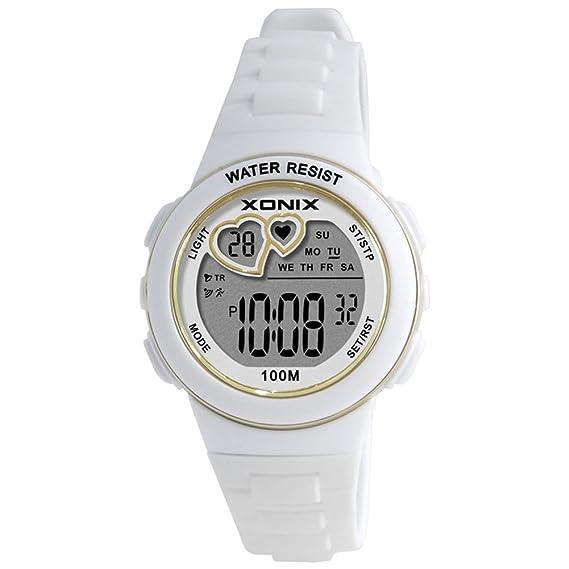 Niño] Cronómetro digital,Led 100m resistente al agua Sistema de 24 horas y 12 horas Luminoso Calendario Multifunción Estudiante Relojes digitales-A: ...