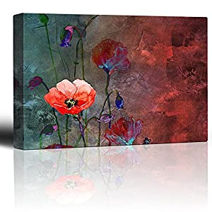 wall26 – Poppy Flowers Artwork Over a Blue and Red Picture with Abstract Painting Background – Giclee Prints Canvas Wall Art Modern Home Art | Stretched Gallery Wrap Ready to Hang – 24×36 inches