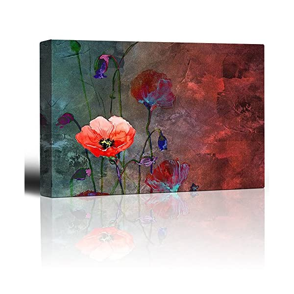 wall26 – Poppy Flowers Artwork Over a Blue and Red Picture with Abstract Painting Background – Giclee Prints Canvas Wall Art Modern Home Decor | Stretched Gallery Wrap Ready to Hang – 24×36 inches