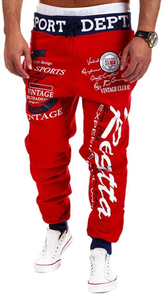 Cottory Mens Hip hop Loose Sweatpants Graffiti Sports Jogger Trousers Black Red Small