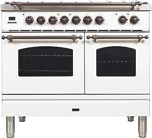 Ilve UPDN100FDMPBYLP Nostalgie Series 40 Inch Dual Fuel Convection Freestanding Range, 5 Sealed Brass Burners, 4 cu.ft. Total Oven Capacity in White, Bronze Trim (Liquid Propane)