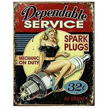 Dependable Service Tin Sign 13 x 16in