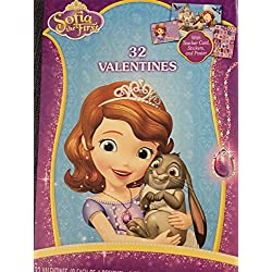 Hallmark Junior Disney Sofia the First 32 Valentines with Teacher Card , Stickers, and Poster Classroom Valentines