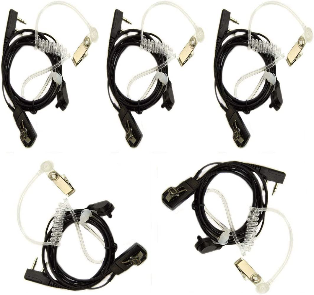 5Pack Earpiece Headset Air Covert Acoustic Tube Microphone Compatible for Baofeng Radio BF-F8HP BF-F9 UV-82 UV-82HP UV-82C UV-5R UV-5R5+ UV-5RA UV-5RE Kenwood Puxing Wouxun Two Way Radio(5 Packs)