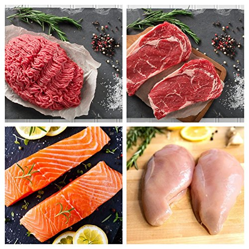 Greensbury Market - Starter's Sampler 16 Servings - Bundle: Grass-Fed Ribeye Steaks & Ground Beef, Wild-Caught Sockeye Salmon & Organic Chicken ()