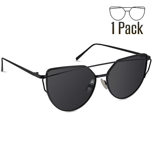 Amazon.com: Livhò Sunglasses for Women, Cat Eye Mirrored Flat Lenses ...