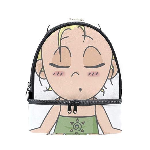 Yoga Chica Saludable de Dibujos Animados Escuela Portátil ...