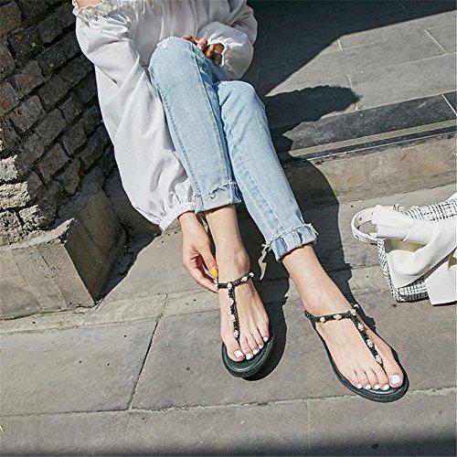Planas de los de Las Comodidad Verde la Zapatos de Confortables Señoras Romanos Cuero de Zapatos Respirable Sandalias WOnnIA4pq