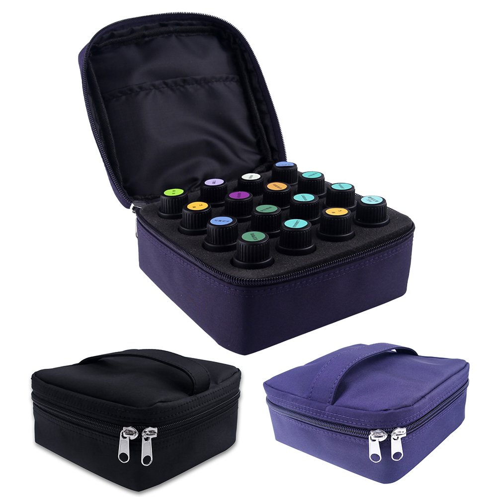 Essential Oils Storage – pureGLO 16 Bottle Essential Oil Carrying Case - Essential Oil Organizer Bag Travel Carrier Holds 5ml, 10ml, 15ml Vials – Holder for Young Living & Doterra Containers Purple