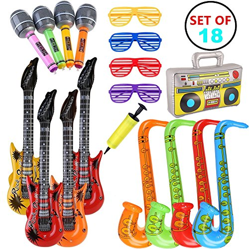 VN STORE 18pcs Inflatable Guitar Saxophone Microphone Toys