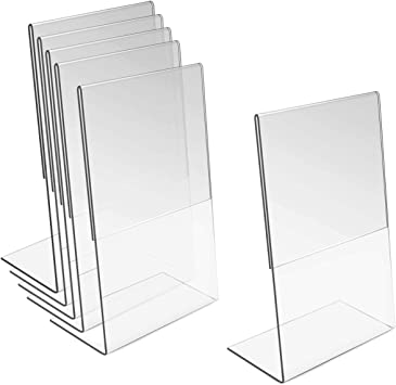 Amazon Com Oruuum 6 Pcs Acrylic Sign Holder L Shape Menu Display Stand Poster Holders For Display Picture Holder Stand 10x15cm Office Products