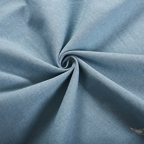 ZHH 47 Inch By 69 Inch Hollow-out Handmade Embroidered Flowers Cotton Tie-Up Roman Shade Curtain, Blue by ZHH (Image #5)