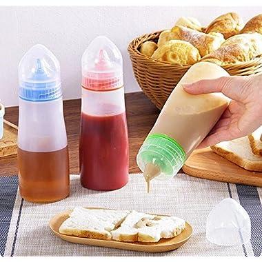 ON GATE Kitchen Plastic Squeeze Bottle Condiment Dispenser for Sauce Vinegar Oil Ketchup Cruet Bottles (Set of 2) 8
