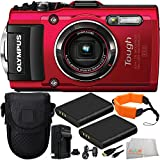 Olympus Stylus TOUGH TG-4 Digital Camera (Red) 9PC Accessory Kit. Includes 2 Replacement Li-90 Batteries + AC/DC Rapid Home & Travel Charger + Micro HDMI Cable + Point & Shoot Case + Floating Strap + MORE