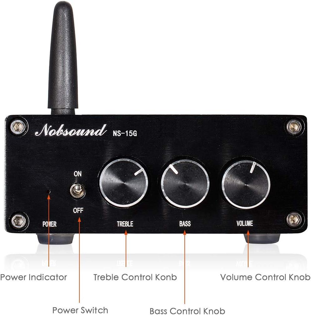 Nobsound 2 Channel Bluetooth 4.2 Amplifier, Class D Stereo Audio Amplifier, Mini Home Theater Power Amp, Digital Power Amplifier Receiver, 200W, Treble Bass Control NS-15G