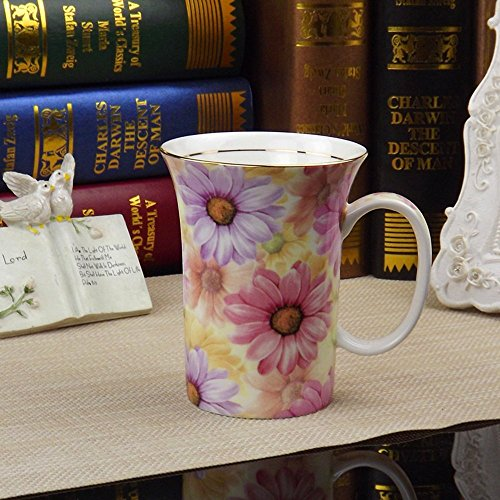 ufengkeCreative Cute European England Royal Luxury Bone China Tea Cup Ceramic Coffee Cup Mugs-Pink And Blue Chrysanthemum Flower