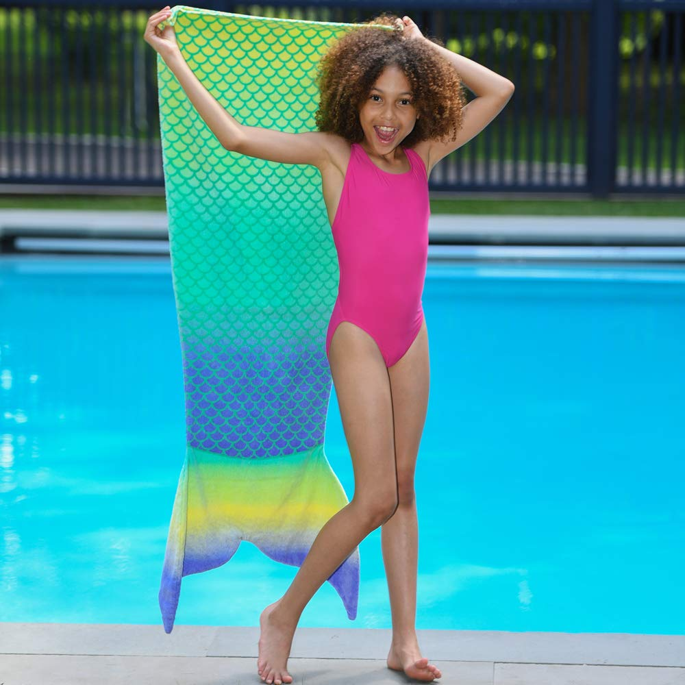 Toweltails 100% Cotton Mermaid Tail Shaped Towel for Girls 55'' long perfect for the Beach Pool or Bath in Aqua