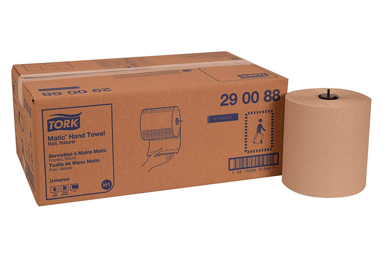 Tork 290088 Universal Matic Paper Hand Towel Roll, 1-Ply, 7.7'' Width x 700' Length, Natural, Green Seal Certified (Case of 6 Rolls, 700 Feet per Roll, 4,200 Feet) (12 Rolls)