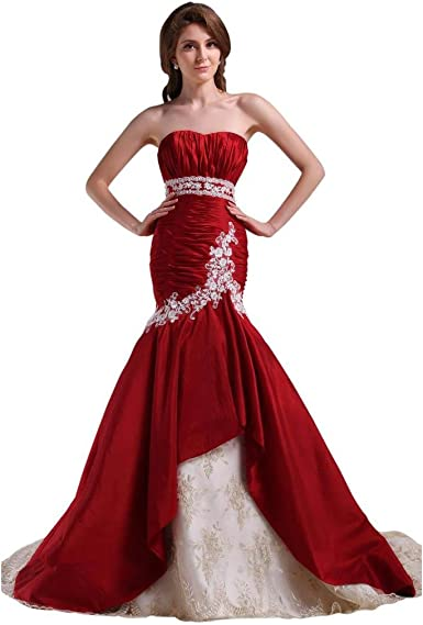 Kivary Sweetheart Mermaid Lace Trumpet Wine Red Long Bridal