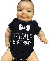 "Chinatera Baby Girls Boys ""It's My Half Birthday "" Romper Bowknot Print Jumpsuit"