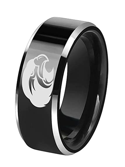 Amazon.com: 8 mm Acero Inoxidable Negro anillos Eagle Logo ...