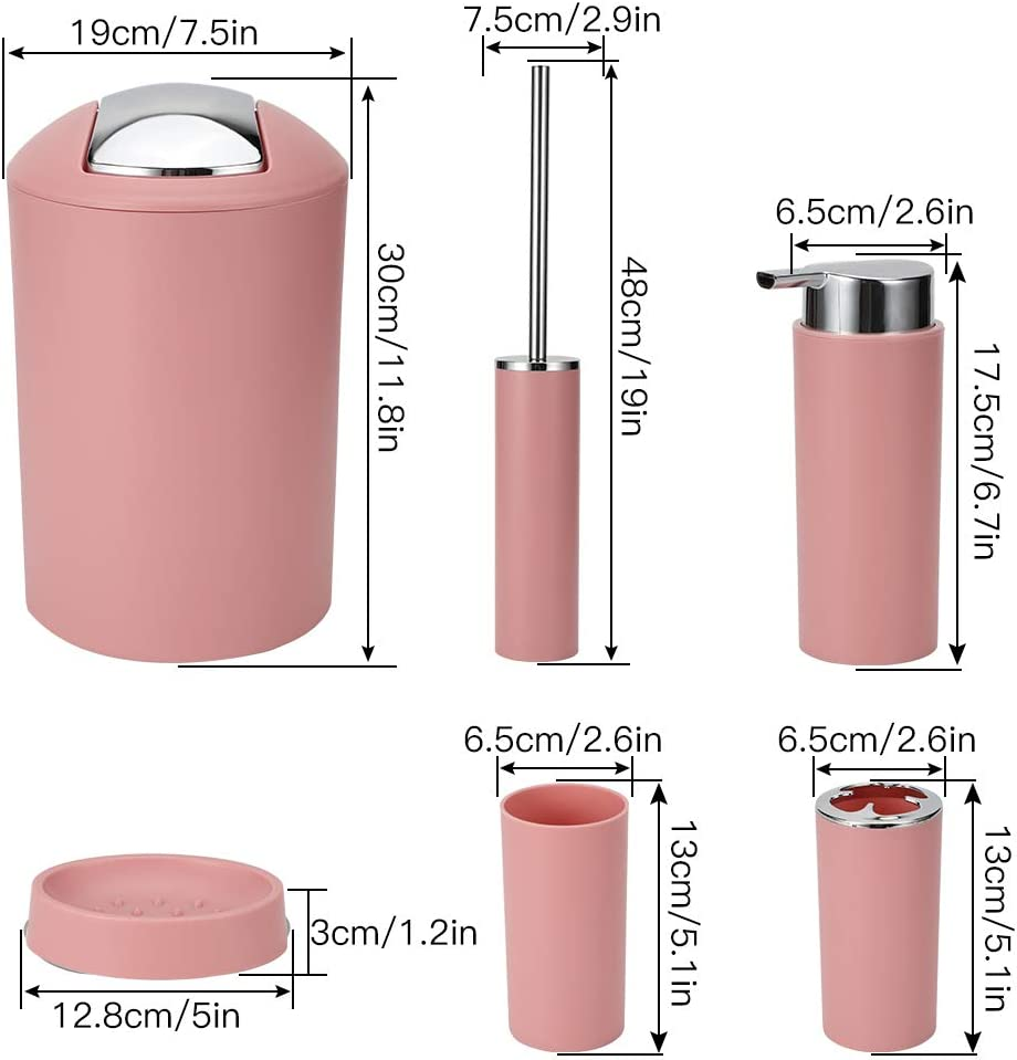 incluye papelera soporte para cepillos de dientes dispensador de jab/ón Juego de accesorios de ba/ño escobilla de inodoro con soporte Ohok jabonera vaso 6 piezas