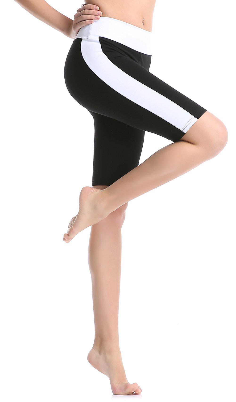 ABUSA Women's Cotton Workout Bike Yoga Shorts - Tummy Control S White by ABUSA