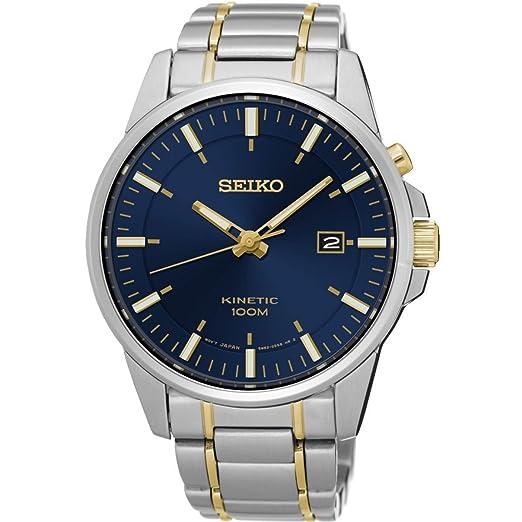 Seiko Reloj Analógico para Hombre de Kinetico con Correa en Acero Inoxidable SKA757P1: Amazon.es: Relojes