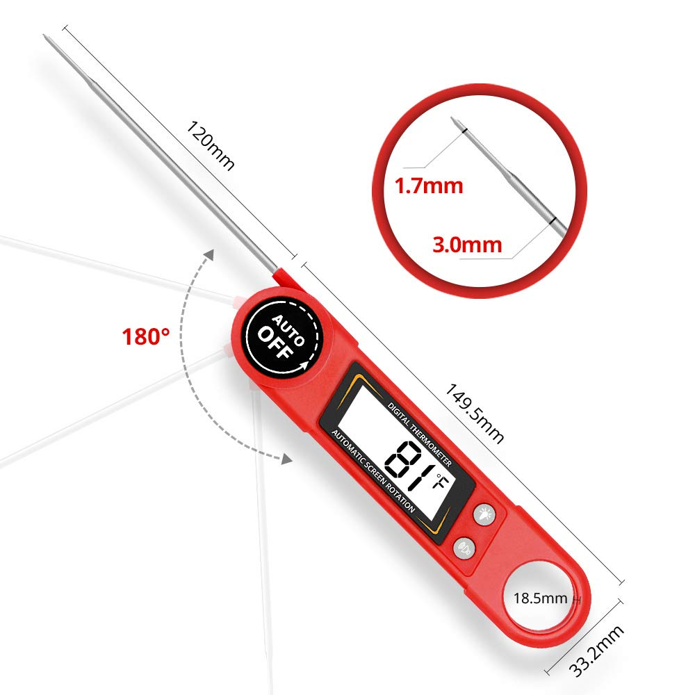 Meat Thermometer – Tker Digital Super Fast Instant Read Thermometer Food Thermometer with Calibration and LCD Backlight Screen& Voice Broadcast for Kitchen BBQ Grill