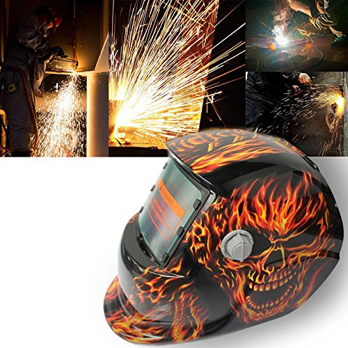 TOOGOO 2018 New Pro Solar Welder Mask Auto-Darkening Welding Helmet Fiery red Skull