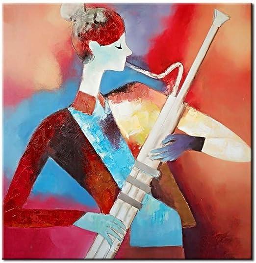 WWDDVH Chica Abstracta Hecha A Mano Que Sopla Un Saxofón Home Decor Wall Arts Pintura Al Óleo para Sala De Estar: Amazon.es: Hogar