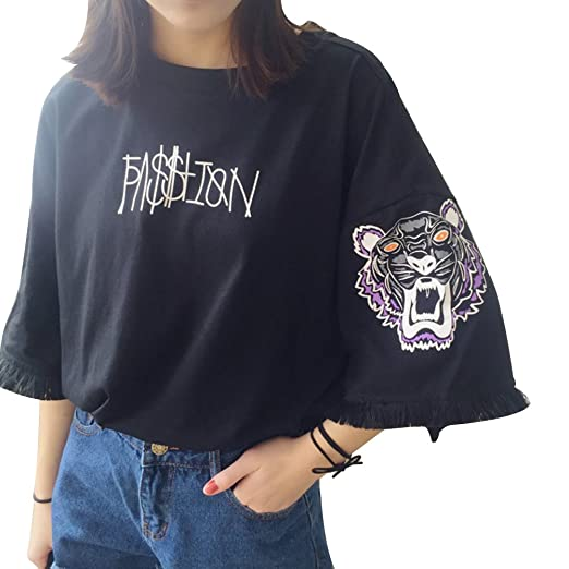Image Unavailable. Image not available for. Color  preliked Girl Summer Korean  Fashion Letters Tiger Tassel Big Half Sleeve Loose T-Shirt Top b4b8c67d5f22