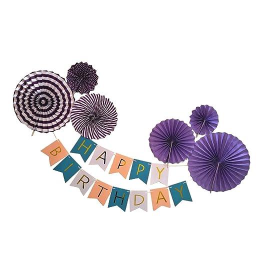 Feliz Cumpleaños Bunting Banner Garland Paper Pinwheel Fan ...