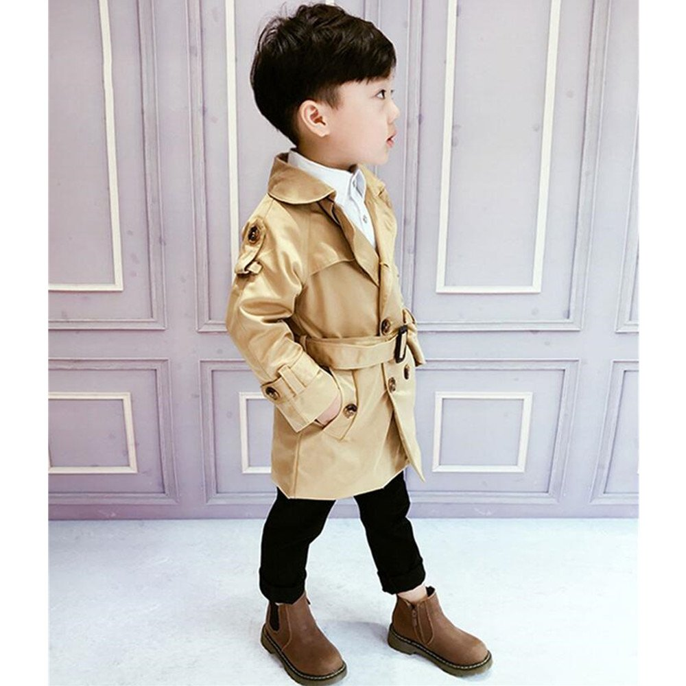 LJYH Kid Boys//Girls New Spring Double-Breasted Trench Coat with Belt