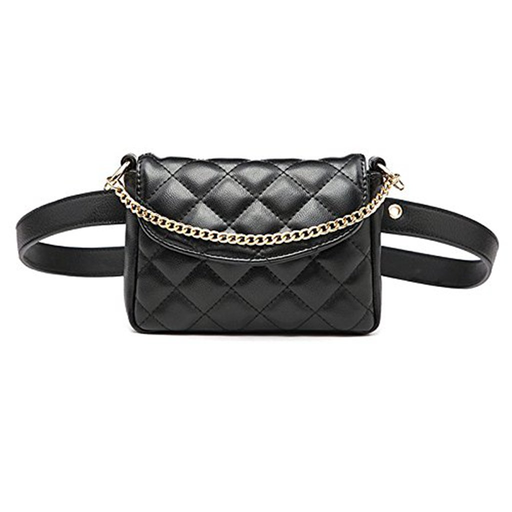 Badiya Fashion Women Mini PU Leather Waist Packs Outdoor Travel Belt Bag WP02129BK