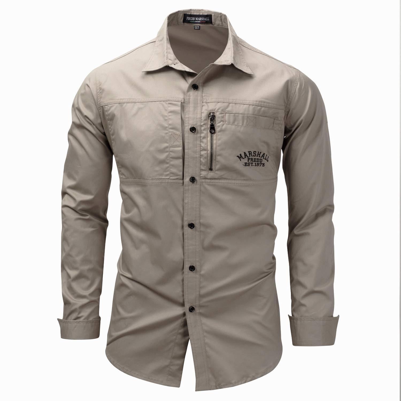 CrazyDayMen Zip Long Sleeve Turn-Down Collar Cotton Solid Button Dress Shirt