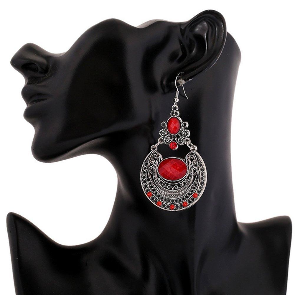 Hosaire 1Paire Femmes Boucles doreilles Retro hollow carved flowers Strass Bijoux El/égant Cadeau de lamour