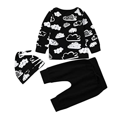 SRYSHKR Newborn Infant Baby Girl Boy Cloud Print T Shirt Tops+Pants Outfits Clothes Set