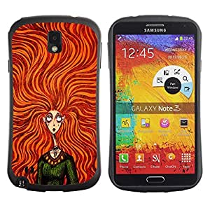 "Hypernova Slim Fit Dual Barniz Protector Caso Case Funda Para Samsung Note 3 [Verde Naranja Chica de pelo vestido de la manera""]"