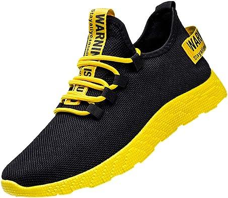 Sallydream Zapatillas Deportivas Hombre Running Casual Gimnasio Ligeras Antideslizante al Aire Libre Zapatos cómodos y Transpirable de Sneakers Negro Rojo Amarillo 39-44: Amazon.es: Zapatos y complementos