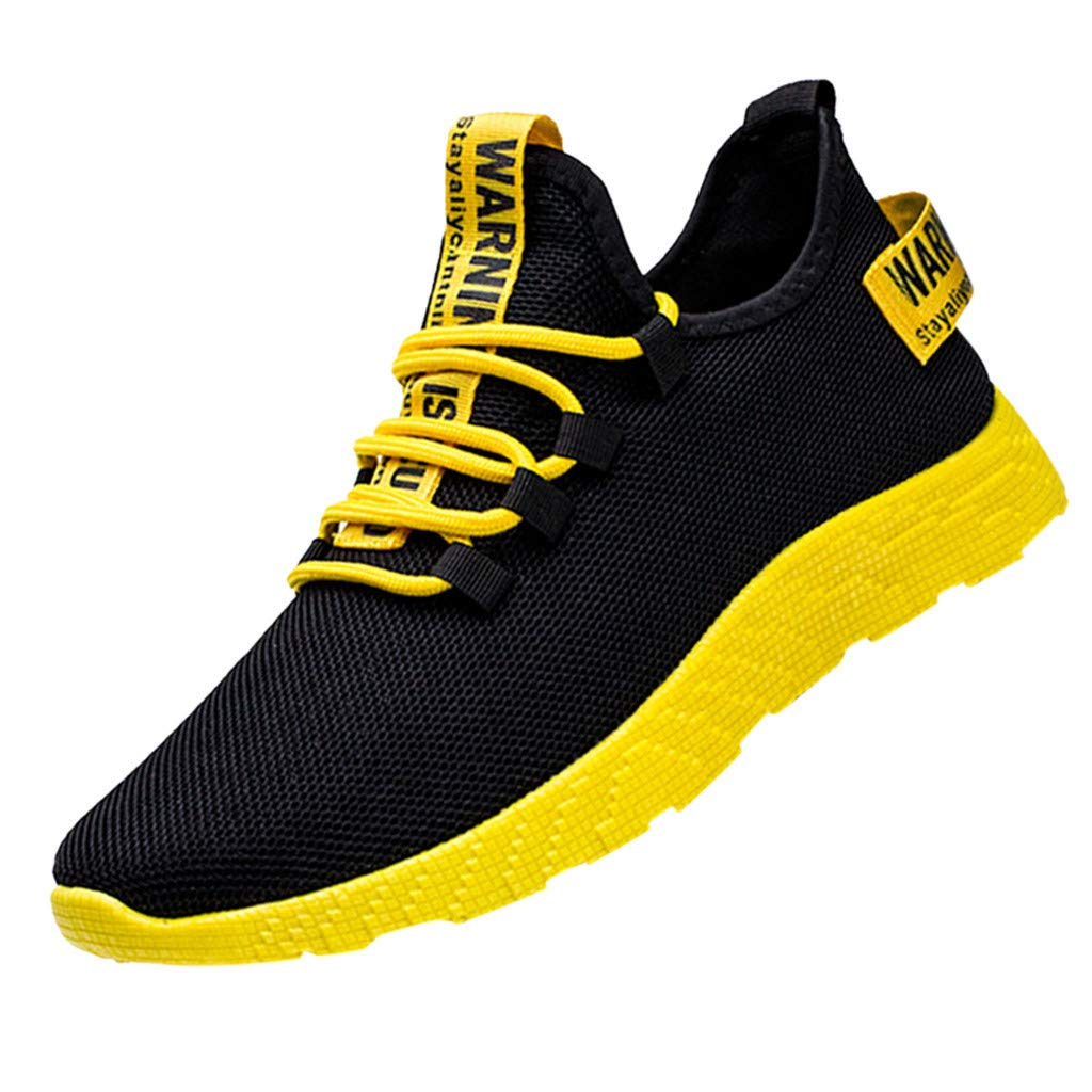 OutTop(TM) Men's Sports Shoes Mesh Casual Athletic Running Shoes Lightweight Breathable Fashion Sneakers (US:8, Yellow)