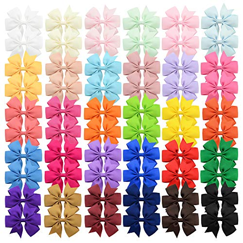 60Pcs 3 inch Solid Color Grosgrain Ribbon Baby Girls Hair Bows Alligator Clips Hair Accessories for Infants Toddlers…