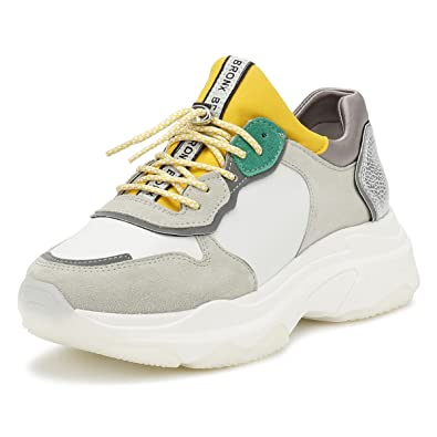 Bronx Damen Weiß Baisley Sneakers-UK 4 LSrZSC1