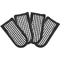 Joyhalo 4pcs Cast Iron Skillet Handle Covers, Black and Brown Pot Handle Sleeves, Pan Hot Handle Holders Black & White Buffalo