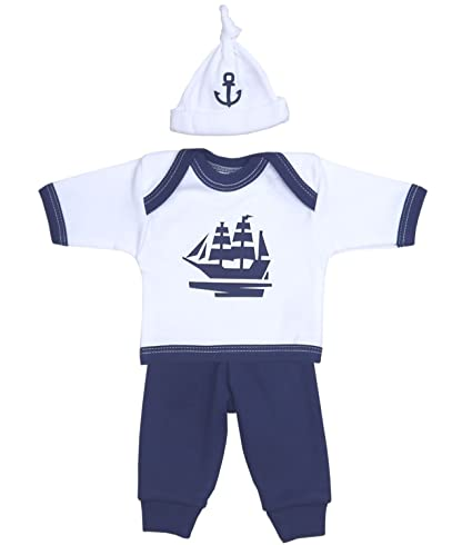 7499c8f3b Premature Early Baby Clothes 3 Piece Set - Long Sleeved Top, Trousers & Hat  1.5lb - 7.5lb Navy